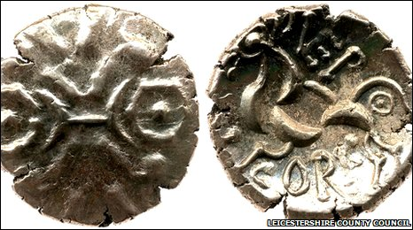 Gold Iron Age coin of the Corieltavi found at the Hallaton shrine, Leicestershire. � Leicestershire County Council.