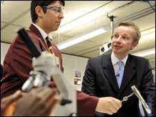 Michael Gove at a school science lesson