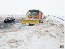 Snow clearing on the A66 in County Durham