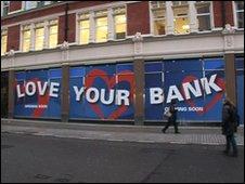 Metro Bank behind hoarding