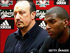 Liverpool manager Rafael Benitez and Ryan Babel