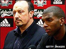 Liverpool manager Rafael Benitez and Ryan Babel