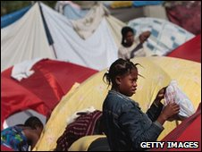 A girl in a displaced persons camp