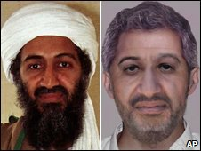 Osama Bin Laden in a 1998 file photo (l) and an digitally-altered aged photo (r)