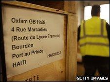 Boxes of water sanitation equipment bound for Haiti