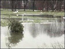 Flooding in Llandaff Fields, Cardiff