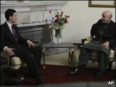 David Miliband and Hamid Karzai