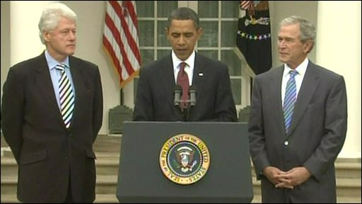 Presidents Obama, Bush and Clinton