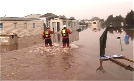 Flooding at the Carmarthen Bay Holiday Village at Kidwelly