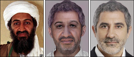 From left: Osama Bin Laden (1998); Photo-fit of Osama Bin Laden