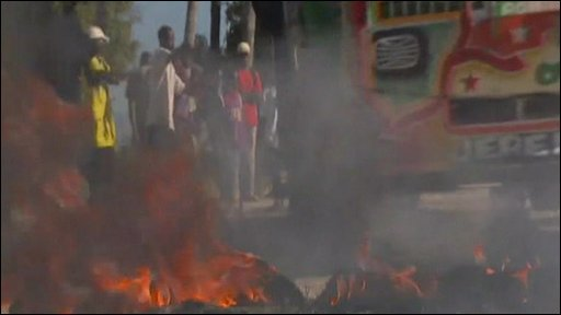 Burning barricade on streets of Port au Prince