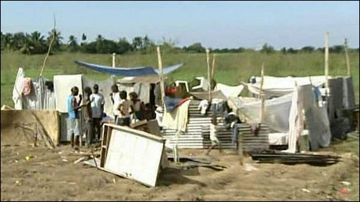 People making temporary shelters after losing their homes