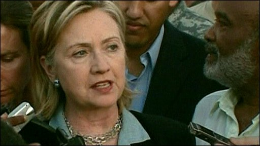 US Secretary of State Hillary Clinton with Haitian President Preval