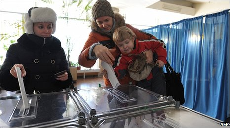 Voters in Dnipropetrovsk, Ukraine