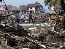 The aftermath of the 2004 tsunami in Banda Aceh, Indonesia