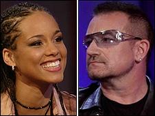 Alicia Keys and Bono