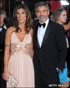 George Clooney and Elisabetta Canalis at the Golden Globes