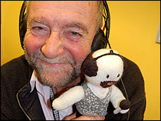 Rony Robinson's object is a knitted character of himself, made by a listener