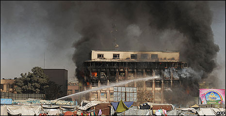 A burning building in Kabul
