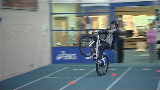 Aaron Stannage in his wheelie attempt