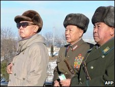North Korean leader Kim Jong-il inspects military manoeuvres - undated photo released 17 January 2010 by Korean Central News Agency