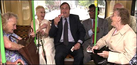 John Prescott on a bus