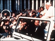 Archive picture of Mehmet Ali Agca pointing a gun (circled) at Pope John Paul II on 13 May 1981 in St Peter's Square in the Vatican