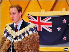 Prince William wore a traditional korowai cloak made from kiwi feathers