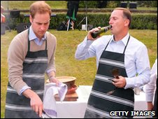 Prince William attends a barbecue at Premier House with Prime Minister John Key