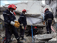 French rescuers in Port-au-Prince, Haiti, 17 Jan 10