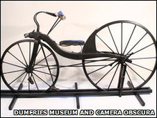Replica of Kirkpatrick MacMillan's first bicycle