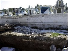 Mass grave outside graveyard in Haiti