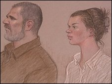 A sketch of the two accused in court