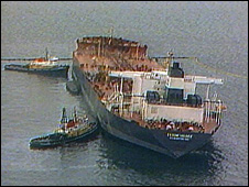 Library image of the Exxon Valdez in Prince William Sound