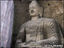 A Buddha statue carved from the cliffs at Yungang, near Datong in Shanxi province, similar to the Mengshan Buddha - file photo