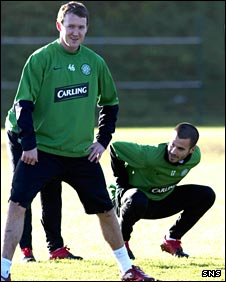 Celtic players Aiden McGeady and Marc Crosas