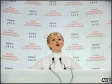 Yulia Tymoshenko addresses reporters in Kiev, early on 18 January