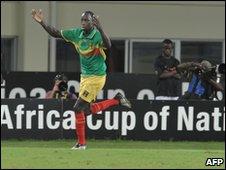 Mamadou Bagayoko celebrates a goal
