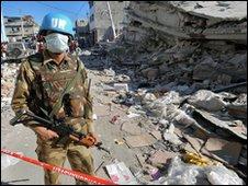 UN soldier on street