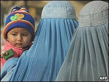 Afghan women and child on a Kabul street, January 2010