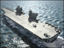 Artist impression of one of the new UK super aircraft carriers