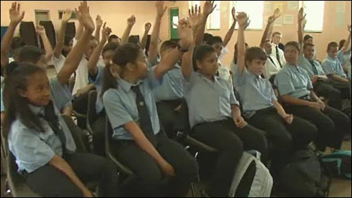 Pupils at Prince Andrew school in St Helena