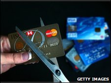 Credit card being cut up