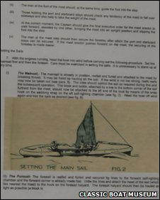 A page of the sailing manual