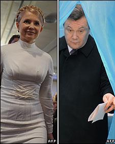 Ukrainian presidential candidates Yulia Tymoshenko (left) and Viktor Yanukovych