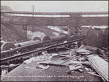 Scene of the Witham train crash, 1905
