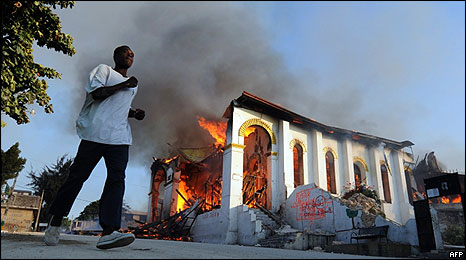 A burning church in Haiti