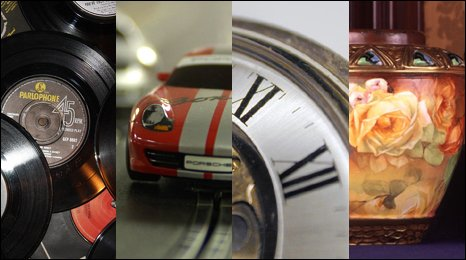 Records, a Scalextric car, a pocket watch and a vase