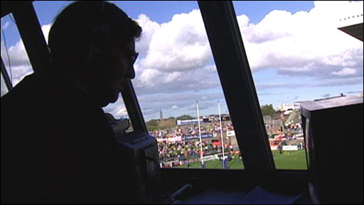 Bill McLaren at work in the commentary box