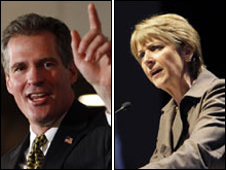 Scott Brown and Martha Coakley, file pix